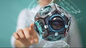 Onderneemster die futuristische de camera 3D renderin gebruiken van de hommelveiligheid Stock Foto