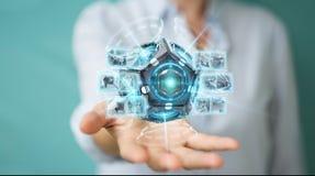 Onderneemster die futuristische de camera 3D renderin gebruiken van de hommelveiligheid Royalty-vrije Stock Fotografie