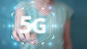 Onderneemster die 5G netwerkinterface het 3D teruggeven gebruiken Stock Foto