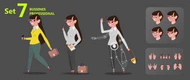 Onderneemster die Gestileerde karakterontwerpset voor animatie werken vector illustratie