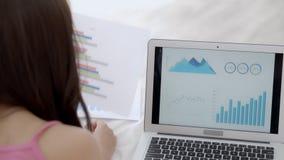 Onderneemster die grafiek en grafiekfinanciën van marketing met gegevensinformatie analyseren over tablet en laptop computer stock video