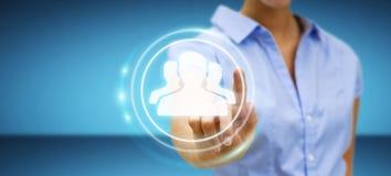 Onderneemster die het blauwe sociale netwerk 3D teruggeven gebruiken Royalty-vrije Stock Afbeelding