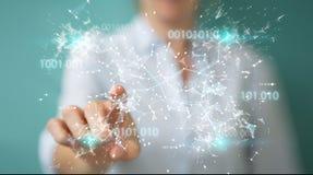 Onderneemster die het digitale netwerk van de binaire codeverbinding 3D gebruiken aangaande Royalty-vrije Stock Afbeelding