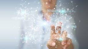 Onderneemster die het digitale netwerk van de binaire codeverbinding 3D gebruiken aangaande Royalty-vrije Stock Fotografie