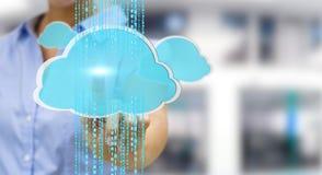 Onderneemster die het digitale wolk 3D teruggeven gebruiken Stock Foto