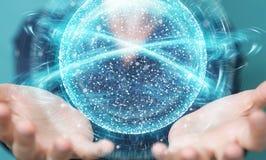 Onderneemster die het gebied 3D renderi gebruiken van de digitaal netwerkverbinding Stock Afbeeldingen