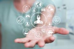 Onderneemster die het moderne medische interface 3D teruggeven gebruiken Royalty-vrije Stock Foto