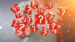 Onderneemster die kubussen met 3D teruggevende vraagtekens gebruiken Royalty-vrije Stock Fotografie
