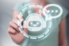 Onderneemster die met chatbottoepassing het 3D teruggeven babbelen Stock Afbeelding