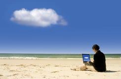 Onderneemster die met laptop bij strand werkt stock foto's
