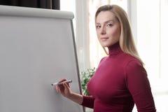 Onderneemster die op flipchart schrijven terwijl het geven van presentatie aan Stock Afbeelding