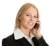 Onderneemster die op mobiele telefoon spreekt royalty-vrije stock afbeelding