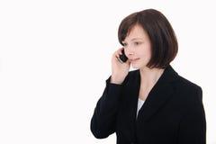 Onderneemster die op telefoon spreekt Royalty-vrije Stock Foto's