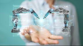 Onderneemster die roboticawapens met digitale het scherm 3D renderi met behulp van Royalty-vrije Stock Afbeelding