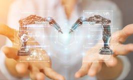 Onderneemster die roboticawapens met digitale het scherm 3D renderi met behulp van Stock Fotografie