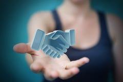 Onderneemster die vennootschap het 3D teruggeven besluiten Royalty-vrije Stock Foto's