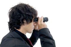 Onderneemster die verrekijkers met behulp van Royalty-vrije Stock Afbeeldingen