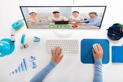 Onderneemster die videoconferentie hebben stock afbeelding