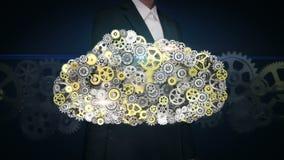 Onderneemster die wat betreft het scherm, Toestellen de servervorm maken van de wolkencomputer Kunstmatige intelligentie vector illustratie