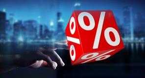 Onderneemster die witte en rode verkoop gebruiken die pictogrammen 3D renderin vliegen Royalty-vrije Stock Afbeeldingen