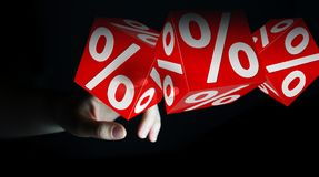 Onderneemster die witte en rode verkoop gebruiken die pictogrammen 3D renderin vliegen Stock Foto