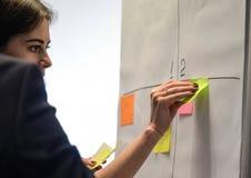 Onderneemster die zelfklevende nota's over whiteboard in creatief bureau plakken royalty-vrije stock fotografie