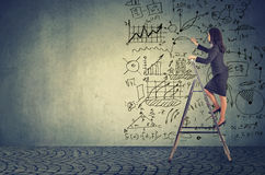 Onderneemster die zich op ladder bevinden en de ideeën van het businessplan trekken royalty-vrije stock afbeelding