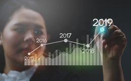 Onderneemster Drawing Growing Statistic Financiële 2019 stock afbeelding