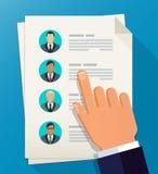 Onderneemster en een grote groep bedrijfsmensen werkgelegenheid De vlakke illustratie van het teambeheer royalty-vrije illustratie