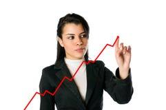 Onderneemster en het groeien grafiek Royalty-vrije Stock Foto