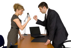 Onderneemster en zakenman in bureau. Stock Fotografie