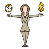 Onderneemster in evenwicht brengende tijd en geld Royalty-vrije Stock Afbeeldingen