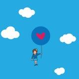 Onderneemster Flying met hartballons stock illustratie