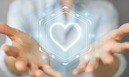 Onderneemster gebruiken die toepassing dateren om liefde online 3D aangaande te vinden Stock Foto