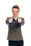 Onderneemster Giving Two Thumbs omhoog Royalty-vrije Stock Foto
