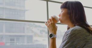 Onderneemster het drinken koffie terwijl het zitten dichtbij venster in een modern bureau 4k stock footage