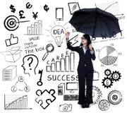 Onderneemster het schrijven bedrijfsstrategie Stock Afbeeldingen