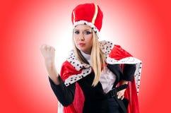 Onderneemster in koninklijk kostuum Stock Foto