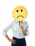 Onderneemster met emoticon stock fotografie