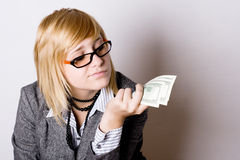 Onderneemster met geld royalty-vrije stock foto's