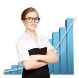 Onderneemster met grote 3d grafiek Stock Afbeelding