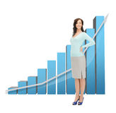 Onderneemster met grote 3d grafiek Royalty-vrije Stock Afbeelding