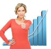 Onderneemster met grote 3d grafiek Royalty-vrije Stock Foto