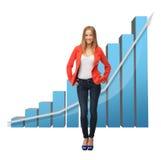 Onderneemster met grote 3d grafiek Stock Foto's