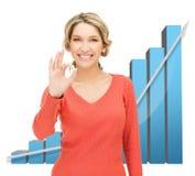 Onderneemster met grote 3d grafiek Stock Afbeeldingen