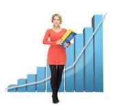Onderneemster met grote 3d grafiek en omslagen Stock Afbeelding
