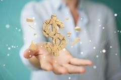 Onderneemster met het exploderende dollarmunt 3D teruggeven Stock Foto's