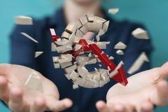 Onderneemster met het exploderende euro munt 3D teruggeven Stock Afbeelding