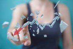 Onderneemster met het gebroken crisispijl 3D teruggeven Royalty-vrije Stock Foto