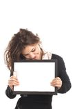 Onderneemster met klembord Stock Afbeeldingen